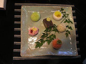 Wagashi - A plate of six wagashi