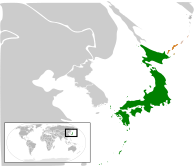 A map showing the location of Japan