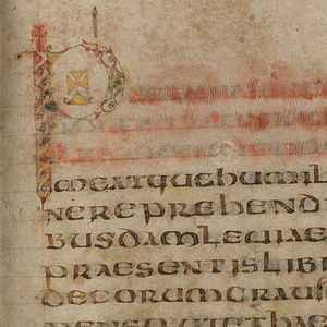 Pastoral Care - Start of the text in the Troyes manuscript of ca. 600 (see below); the first three lines are also in coloured ink, which has run or faded.