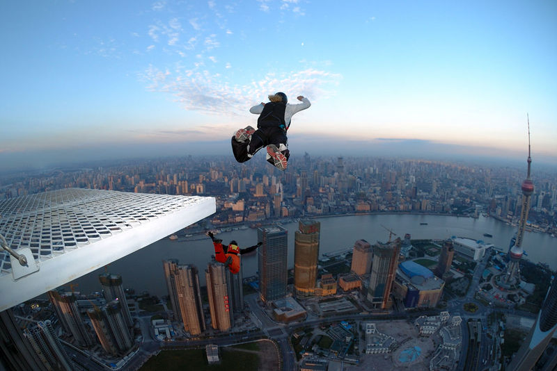 BASE jumping from a building in Shanghai