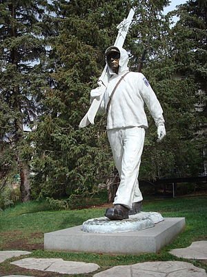 "Vail, Colorado -  The ""Ski Trooper"" bronze sculpture by Scott Stearman in Slifer Plaza honors soldiers of the U.S. Army's 10th Mountain Division, which trained in the area during World War II."