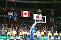 141100 - Wheelchair basketball Australian team flags - 3b - 2000 Sydney ceremony photo.jpg