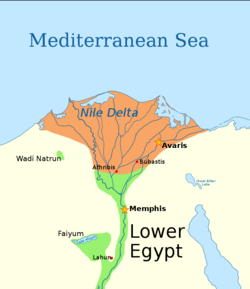 In orange, the territory possibly under control of the 14th dynasty according to Ryholt.[1]