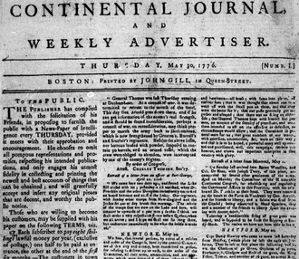 """John Gill (printer) - Continental Journal no.1, May 30, 1776; """"printed by John Gill in Queen-Street,"""" Boston"""