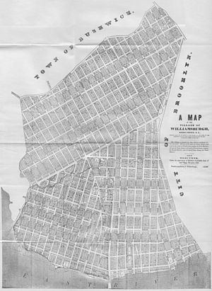 Williamsburg, Brooklyn - Map of the Town of Williamsburgh (1845)