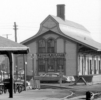 Framingham Railroad Station - 1848-built station, moved from its original location and converted to a freight house, in 1959