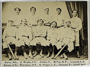 George Wright (sportsman) - The Cincinnati Red Stockings in 1869. Wright is second from left in the back row.