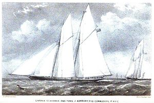 Livonia (yacht) - Livonia, Lithograph by T.G.Dutton after A.W.Fowles