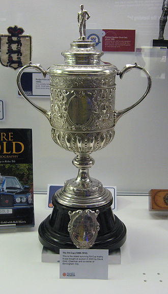 Blackburn Olympic F.C. - The second FA Cup trophy, pictured here, is identical in design to that won by Olympic in 1883. The original trophy was stolen in 1895 and never recovered.