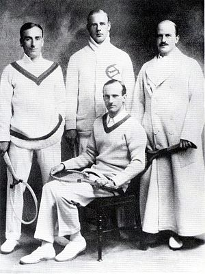 Robert Powell (tennis) - Robert Powell (seated) – playing captain of the 1913 Canadian Davis Cup Team