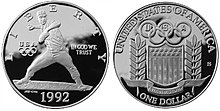 1992 Olympic Baseball Player Proof Dollar