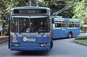 Trasporti Pubblici Luganesi - An articulated Lugano trolleybus in 1997
