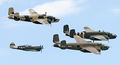 1 fighter, 3 Bombers - by JM Rosier.JPG