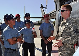 Fire Service Exploring - 1st Lt. Davidson Fisher, C Company, 2916th Aviation Battalion, speaks to fire explorers about his company's work during the Inland Empire Fire Explorers Academy.
