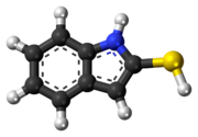 Ball-and-stick model of the 2-mercaptoindole molecule