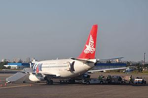 Maputo International Airport - LAM Mozambique Airlines Boeing 737-200 ground handling at Maputo Airport