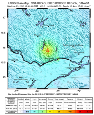 2010 Central Canada earthquake - USGS ShakeMap for the event