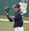 20120310 Kazumasa Kikuchi pitcher of the Yokohama BayStars, at Seibu Dome.JPG