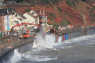 Riviera Line - Repairing the main breach of the sea wall between Dawlish warren and Dawlish