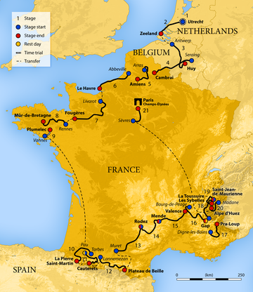 Map of France showing the showing the path of the race going counter-clockwise starting in the Netherlands, going through Belgium, then around France.