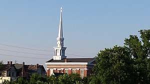 New Albany, Indiana - The 160 feet tall Town Clock Church was built in 1852 as a stop on the Underground Railroad.