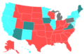 2018 United States House of Representatives Election by Change in the Majority Political Affiliation of Each State's Delegations From the Previous Election.png