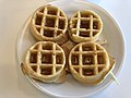 2019-07-20 08 04 26 A plate of mini waffles covered in syrup at the Marriott Residence Inn on Katy Mills Parkway in Katy, Fort Bend County, Texas.jpg