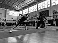 2nd Leonidas Pirgos Fencing Tournament. Scoring foot touches practice for Andriana Theodoropoulou and her coach Mr. George Passas.jpg