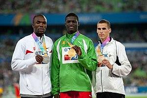 2011 World Championships in Athletics – Men's 400 metres - LaShawn Merritt, Kirani James, and Kévin Borlée.
