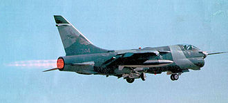 Vought YA-7F - YA-7F prototype 71-0344 in 1989 with afterburner in flight