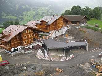Grindelwald - New houses with buried garages under construction in Grindelwald.