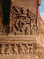 6th century 18-arm Nataraja 9x9 Natya postures in Cave 1, with Nandi, Ganesha and a musician, Badami Hindu cave temple Karnataka 3.jpg