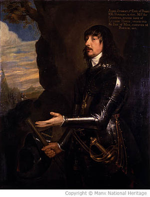 Earl of Derby - James Stanley, 7th Earl of Derby. Remembered on the Isle of Man as: Yn Stanlagh Mooar (the Great Stanley).
