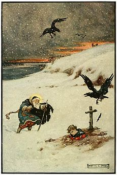 8 There passed over the boundless white plain an aged saint with flowing beard, ... and eyes which shone with laughter - Russian Fairy Book 1916, illustrator Frank C Pape.jpg