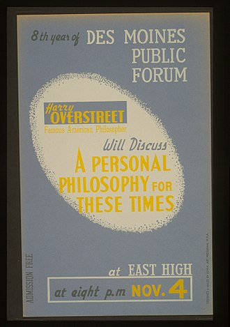 Harry Allen Overstreet - WPA poster for lecture by Harry Overstreet