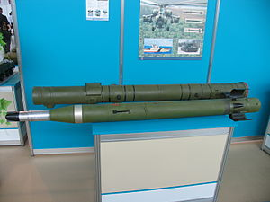 9K114 Shturm - A Shturm missile on display.