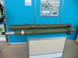 9K114 Shturm - A Shturm missile on display.