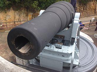 RML 9-inch 12-ton gun - A Mark I, 9 Inch MLR Gun at the Middle North Battery, Simonstown. Photograph taken just after gun was fired. Firing sand still in the barrel.