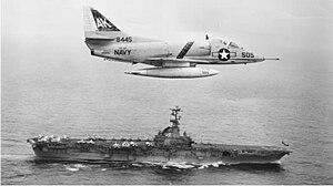 VA-46 (U.S. Navy) - An A-4C of VA-46 flies past USS Shangri-La in 1965.
