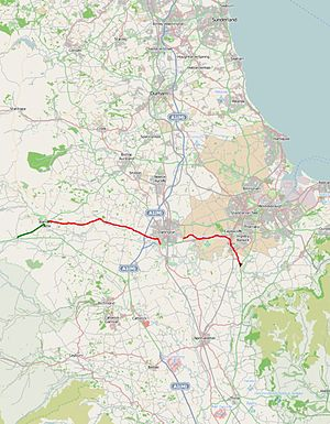 A67 road - Image: A67 road map