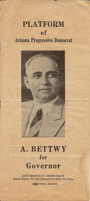 Andrew Jackson Bettwy - 1938 gubernatorial campaign brochure