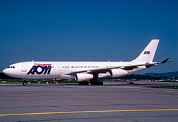 AOM French Airlines Airbus A340-211; F-GLZE, May 2000 DBN (6520826585).jpg