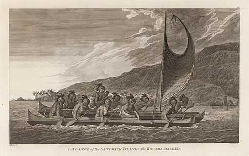 A Canoe of the Sandwich Islands, the Rowers Masked by John Webber