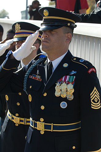 Infantry blue cord - An infantry blue cord worn by a first sergeant during Veteran's Day ceremonies at the 8th U.S. Army Headquarters of Yongsan Garrison, Seoul, South Korea
