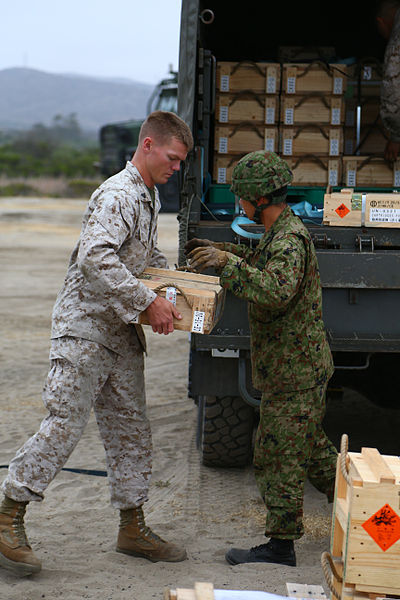 ファイル:A U.S. Marine, left, with Combat Logistics Battalion 11 and a Japanese Ground Self-Defense Force soldier offload ammunition crates at Marine Corps Base Camp Pendleton, Calif., May 31, 2013, as part of exercise 130531-M-QH793-100.jpg