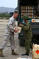 A U.S. Marine, left, with Combat Logistics Battalion 11 and a Japanese Ground Self-Defense Force soldier offload ammunition crates at Marine Corps Base Camp Pendleton, Calif., May 31, 2013, as part of exercise 130531-M-QH793-100.jpg