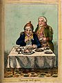 A convalescing man happily eating a meal, assisted by his gr Wellcome V0011202.jpg