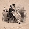 A female patient sits on her doctor's lap. Lithograph. Wellcome V0011735.jpg