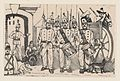 A marching band standing in a street, illustration from 'La gorra del cuartel' MET DP869584.jpg