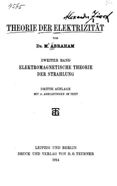File:AbrahamElektromagnetismus1914.djvu